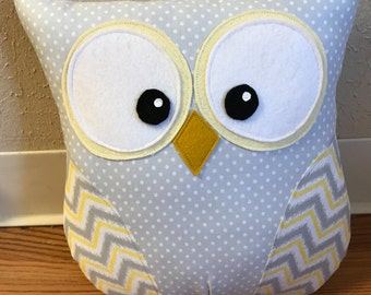 Owl Pillow Gray and White Polka Dot with Yellow and Gray Chevron Wings