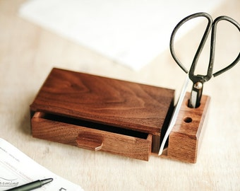 Home office organizer -  wooden desk organizer with drawer - elegant wood desk storage - MADE TO ORDER