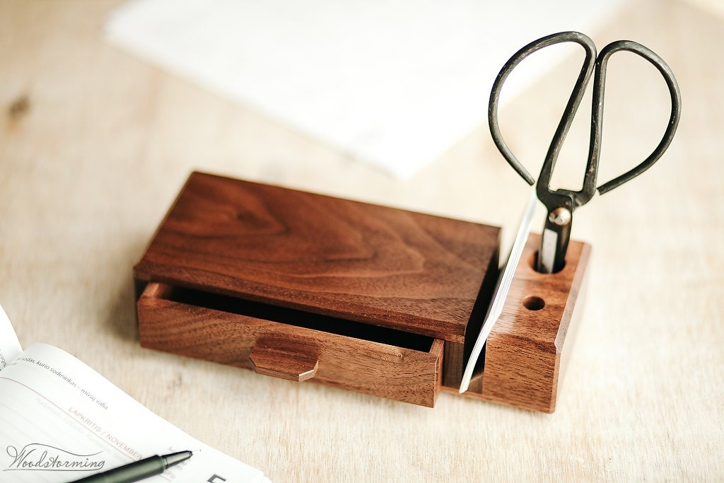 Home office organizer wooden desk organizer with drawer - Wood desk organizer ...