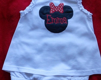 Minnie Mouse Dress,Can order One Piece Romper Dress or Plain Onesie,1st Disney Vacation,Disney Lover,Personalized Disney Minnie Mouse Dress