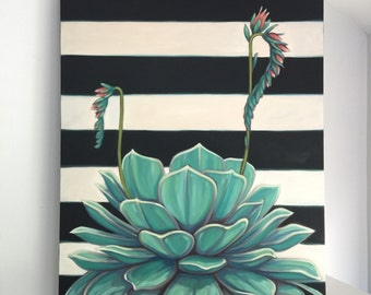 Succulent on stripes by CarinVaughn