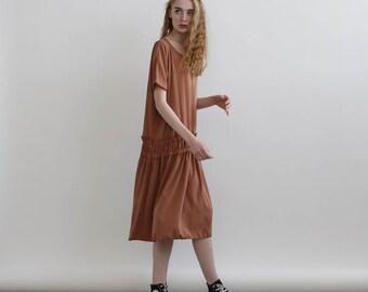 Miro Dress, Elastic band midi dress , Nude summer sundress .