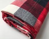 Red Plaid Changing Pad Cover or Crib Sheet - Woodland Baby Bedding - Fitted Crib Sheet, Crib Sheet Boy, Plaid Crib Bedding, Buffalo Plaid