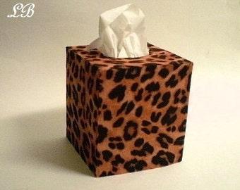 ANIMAL PRINT Tissue Box Cover - Decorative Cheetah Print Eco Felt-Bathroom Accessories, Home Decor, Office, Square Tissue Holder