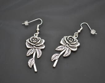 ROSE Flower Charm Silver Plated Ear Wire or Clip On Earrings -ba