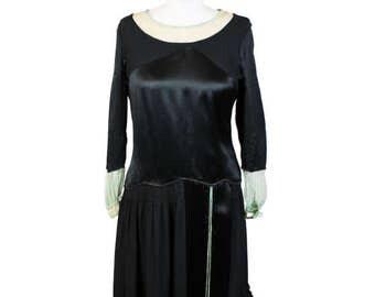 1930s Black Silk Drop Waist Dress
