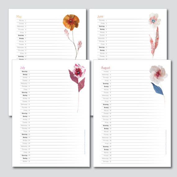 2017 printable planner monthly pages, printable calendar 2017, A4 A5 Letter instant download colourful paper flowers