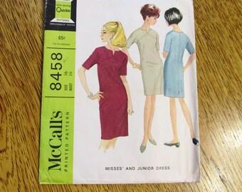 "MOD 1960s Sheath Dress w/ Unique Seaming (MINIMALIST Color Block / Go Go Dress) - Size 16 (Bust 36"") - VINTAGE Sewing Pattern McCalls 8458"