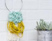 Mini Woven Wall Hanging | Small Weaving with Sari Silk and Yarn on a Metal Hoop | Nursery Art