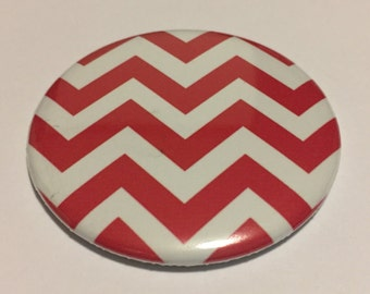 "2.25"" Pocket Mirror Red White Chevron Purse Mirror Teen Gift Purse Accessory"