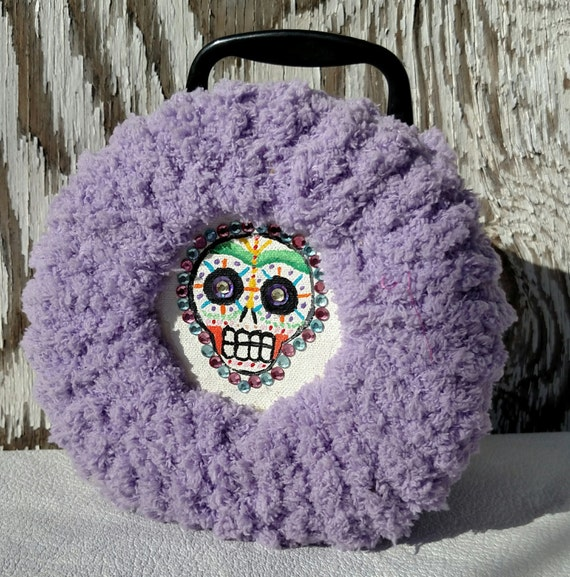 Colorful Sugar Skull Lunchbox with Furry Purple Upholstery