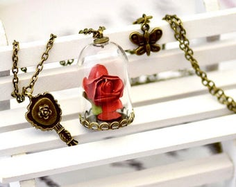 Antique 1800s Beauty and the Beast rose terrarium glass pendant necklace custom wedding favors flowers bridesmaid gifts guest mementos