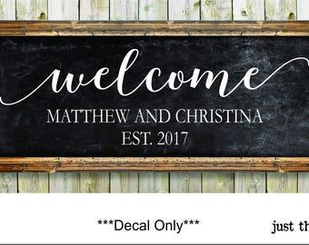 Welcome Wedding Sign Decals - Rustic Wedding Decor - Rustic Wedding Sign - Monogram Decals - Wedding DIY Decals - Custom Wedding Sign Decals