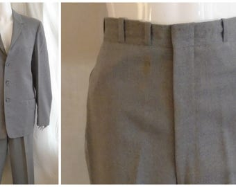 Vintage 1960s Mans Suit Grey Flannel Suit Cuffed Pants Rat Pack