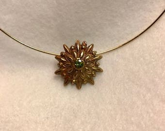 Handcrafted Bronze Pendant with Natural Peridot Gemstone 2 Carats