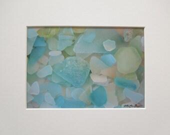Lake Michigan Blue Colors of Beach Glass 5x7 Matted Photo