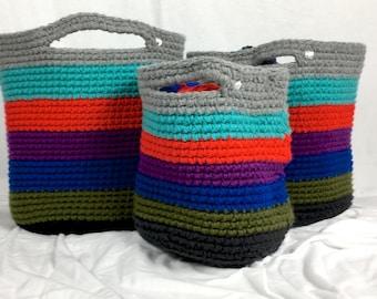 Set of Crochet Nesting Colour Block Baskets, Set of Three Baskets, Gray, Teal, Red, Purple, Blue, Green, Black Nesting Baskets