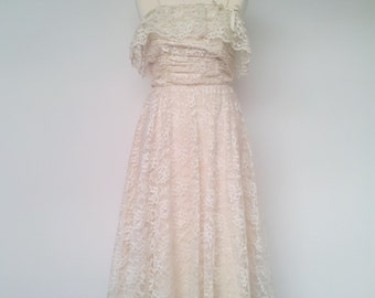 Boho Wedding Dress Cream Lace