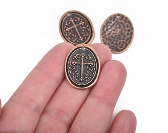 5 Copper Cross Relic Charm Pendants, wax seal style, oval coin charms, Copper plated metal, double sided design, 27x21mm, chs2863