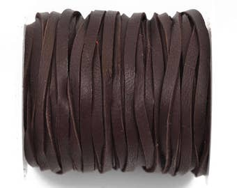 "1/8"" Deerskin Leather Lace, BROWN, Deer Skin real leather by the yard, Realeather made in USA, 3mm wide, 50 feet, Lth0039"