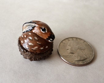 Miniature fawn deer figurine paper clay sculpture animal totem