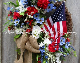 Americana Wreath, Patriotic Wreath, Fourth of July Wreath, Memorial Day Wreath, Military Wreath, American Flag Wreath, Summer Cottage Wreath
