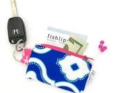 Blue Woven Chain Recycled Key-chain Coin Purse, Modern Geometric Mini Zipper Pouch, Fun Zipper Wallet, Handmade Pouch, Aqua Gift For Women