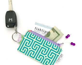 Greek Key Recycled Key-chain Coin Purse, Blue Modern Geometric Mini Zipper Pouch, Fun Small Wallet, Handmade Pouch, Turquoise Gift For Women