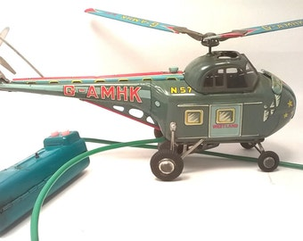 Vintage ALPS G-AMHK N57 Westland Tin Toy Helicopter Battery Operated Lithograph Made in Japan