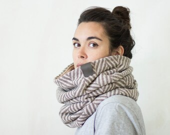 Wool knit cowl, mens, womens, Chunky knit cowl, Snock®, knitted cowl