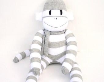 Edward the Sock Monkey - grey and white stripes - *READY TO SHIP*