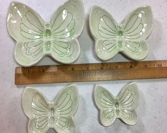 Set of Four Light Green Butterfly Snack Plates, Stacking Butterfly Plates by Angelcraft Made in Florida, Set of 4 Small Plates
