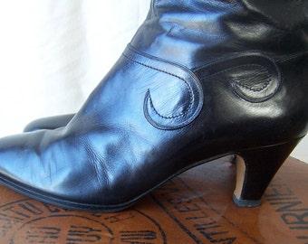 SALVATORE FERRAGAMO vintage 80s calf leather knee dressy boots 8M
