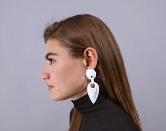 Geometric Earrings, 80s Oversized Earrings, Bold Statement Earrings, Costume Jewelry, Fashion Earrings, Dangle Earrings