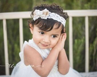 Newborn Headband, baby headbands, Burlap headband, Burlap Bow Lace Headband, Rustic Flower girl burlap headband, Lace headband rhinestone