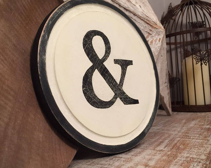 "Featured listing image: 8"" Round Letter Ampersand Sign, Monogram, Initial, Wall Art, Home Decor, Rustic Letters, All letters available, inc ampersand"