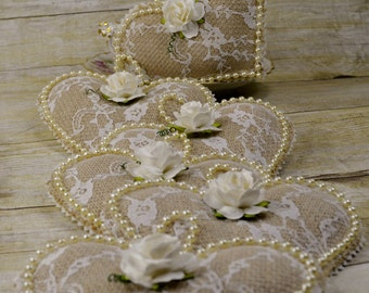 Burlap and Lace Heart Ornaments - Made To Order - Set of 12