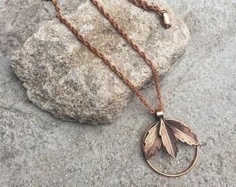 Vintage Copper Necklace Leaf Pendant Long Copper Chain