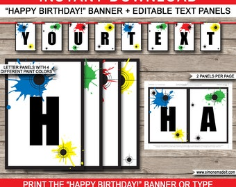 Paintball Party Banner - Happy Birthday Banner - Custom Banner - Paintball Party Decorations - Bunting - INSTANT DOWNLOAD with EDITABLE text