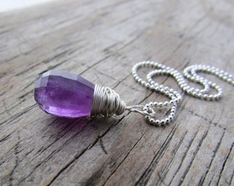 Amethyst Necklace, step cut amethyst pendant, silver, wire wrapped, faceted briolette