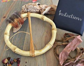 Gold Dream Catcher kits , natural bamboo , mookaite jasper