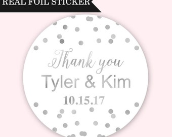 Wedding Stickers for Favors - Silver Wedding Stickers - Custom Wedding Labels - Custom Wedding Favor Labels - Real Foil Wedding Label