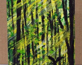 "Forest Original acrylic painting 4"" x 6"" Linen canvas sheet; small office art, wall decor, Landscape painting, forest art, wall painting"