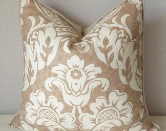 Brown Medallion Floral Decorative Pillow, Braemore Fabric Villa Medici, Designer Throw Pillow, Linen, Accent Pillow