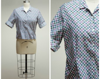 Vintage 1950s Shirt • Hopscotch Happy • Purple Green Blue Printed Cotton 50s Blouse Size Medium