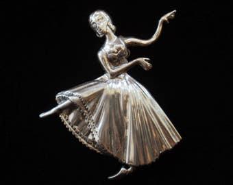 Sterling Silver LANG Dancing BALLERINA Pin Brooch