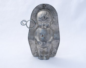 "Vintage Kewpie Chocolate Mold - 5"" Height - 1940's - Candy Confection Display Collectible - Valentine's Day Gift"