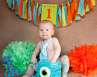 Monster 1st Birthday banner - 1st boy birthday decor - Monster Birthday Party - High Chair Decoration - boy birthday party - monster boy