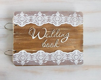 Rustic Guest Book Advice Book Wedding Guest Book Vow Book Anniversary Gift Wood Wedding Guestbook Unique Wedding Guestbook Gift for Couple