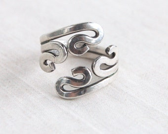 Mexican Wrap Ring Vintage Sterling Silver Adjustable Bypass Ring Abstract Artisan Jewelry Size 9